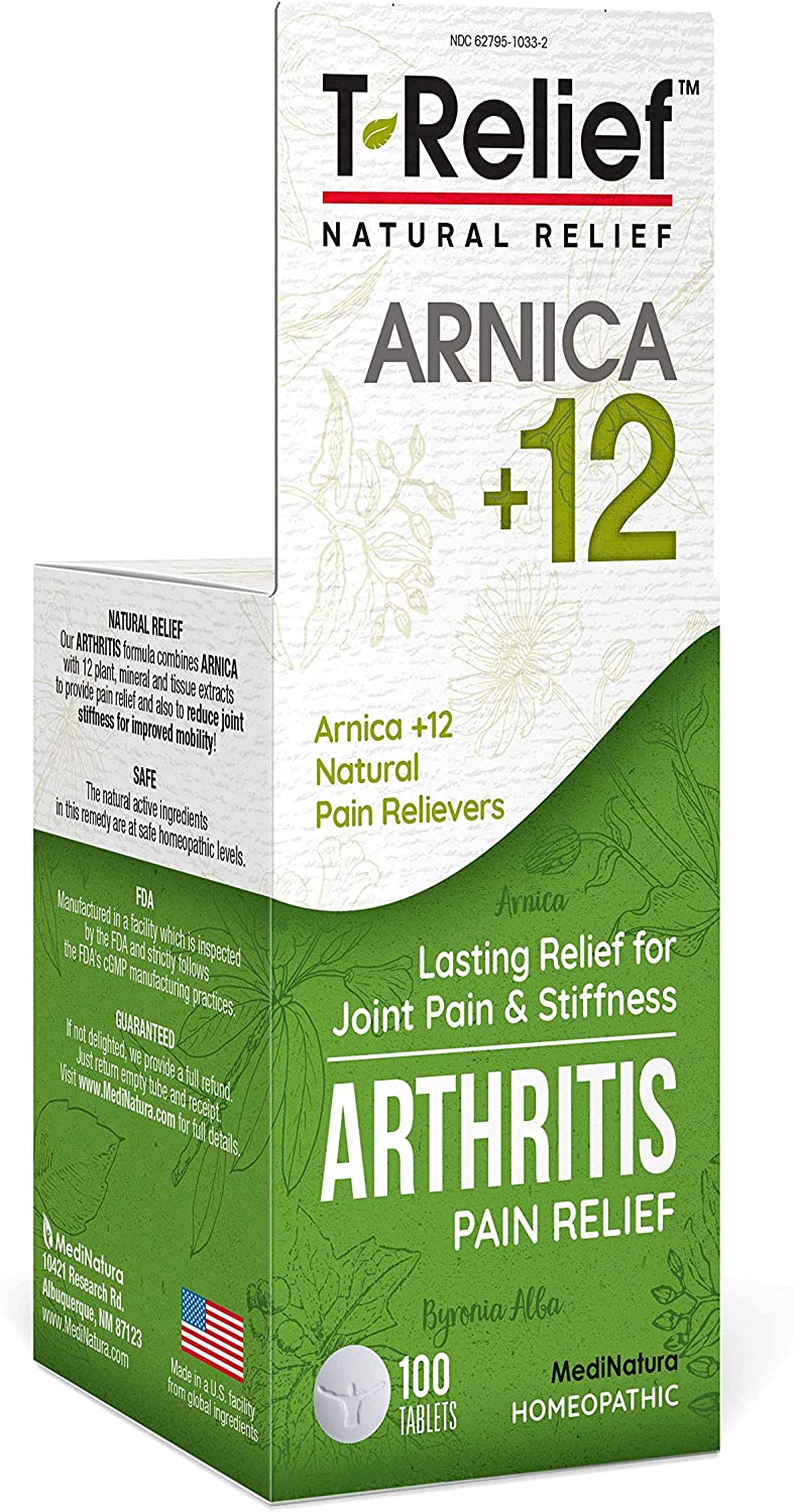 MediNatura T-Relief Arthritis Pain Relief with Arnica + 12 Active Pain Relievers- 100 Tablets: Health & Personal Care