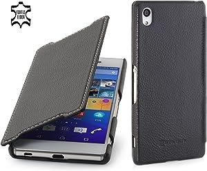 StilGut Book Type Case Senza Clip, Custodia in Vera Pelle a Libro per Sony Xperia Z3+, Nero