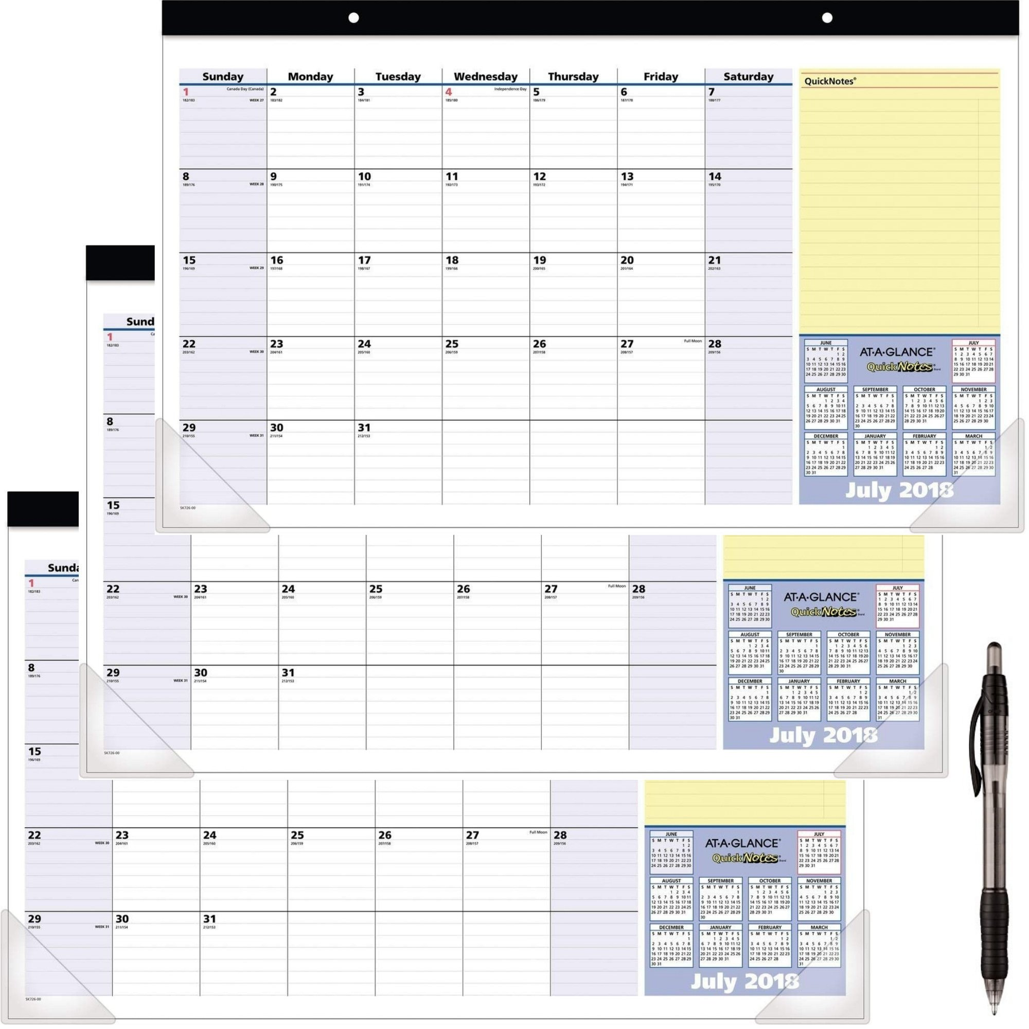 At-A-Glance 2018-2019 Academic Year Desk Pad Calendar, Compact, 17-3/4 x 10-7/8, QuickNotes (SK72600) 3 Pack - Bundle Includes Black Ballpoint Pen
