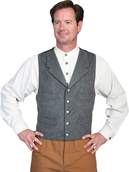 Men's Steampunk Clothing, Costumes, Fashion 4-Pocket Wool Vest  AT vintagedancer.com