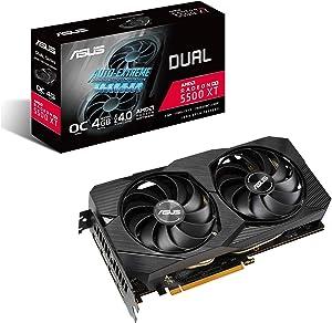 ASUS AMD Dual Radeon RX 5500 XT EVO OC Edition Gaming Graphics Card (PCIe 4.0, 4GB GDDR6 Memory, HDMI, DisplayPort, Full HD Gaming, Axial-tech Fan Design, Auto-Extreme, Metal Backplate)