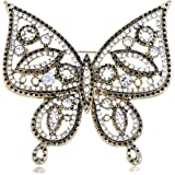 Alilang Gold Tone Clear Rhinestones Antique Cutout Butterfly Insect Brooch Pin