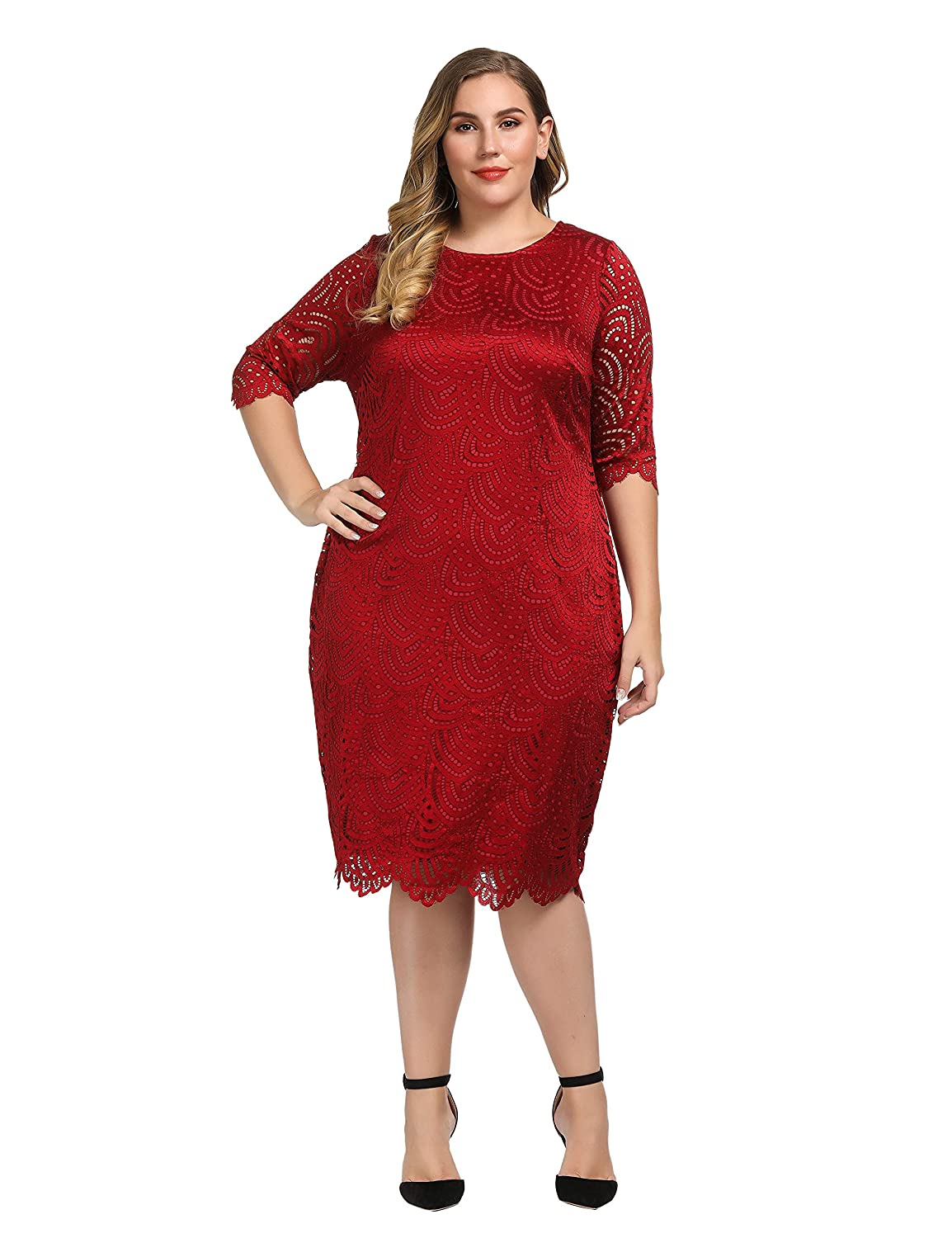 5a62325917f562 Chicwe Women's Stretch Lined Plus Size Lace Shift Dress with Scalloped Hem  and Cuff