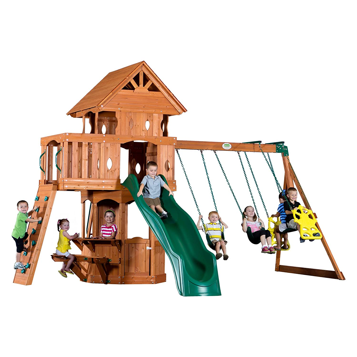 amazon com backyard discovery woodland all cedar wood playset