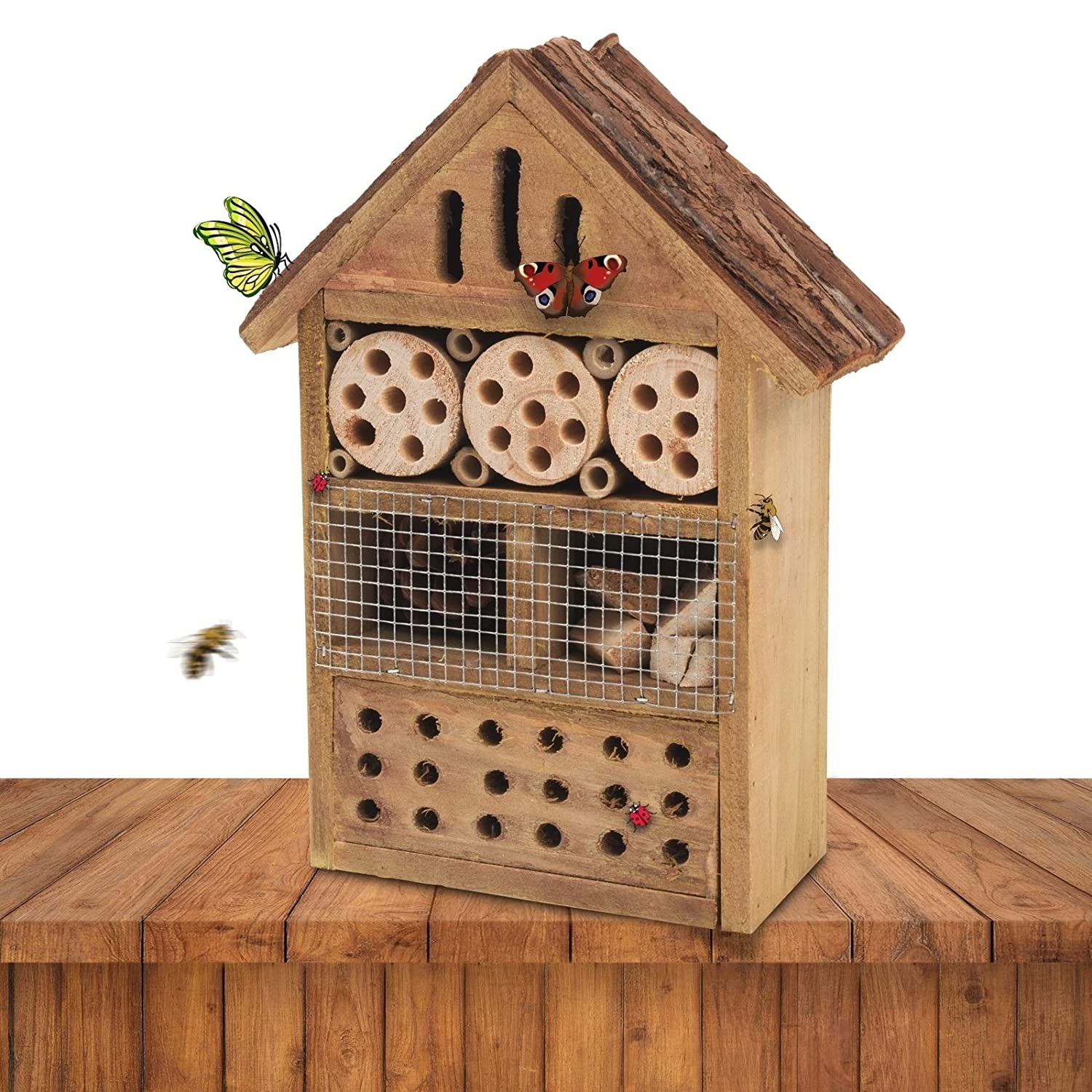 Gardigo 90538 - Natural Wooden Insect Hotel; Nesting/Hibernating Home; Bugs, Bees, Wasps, Butterflies House; Gift Idea