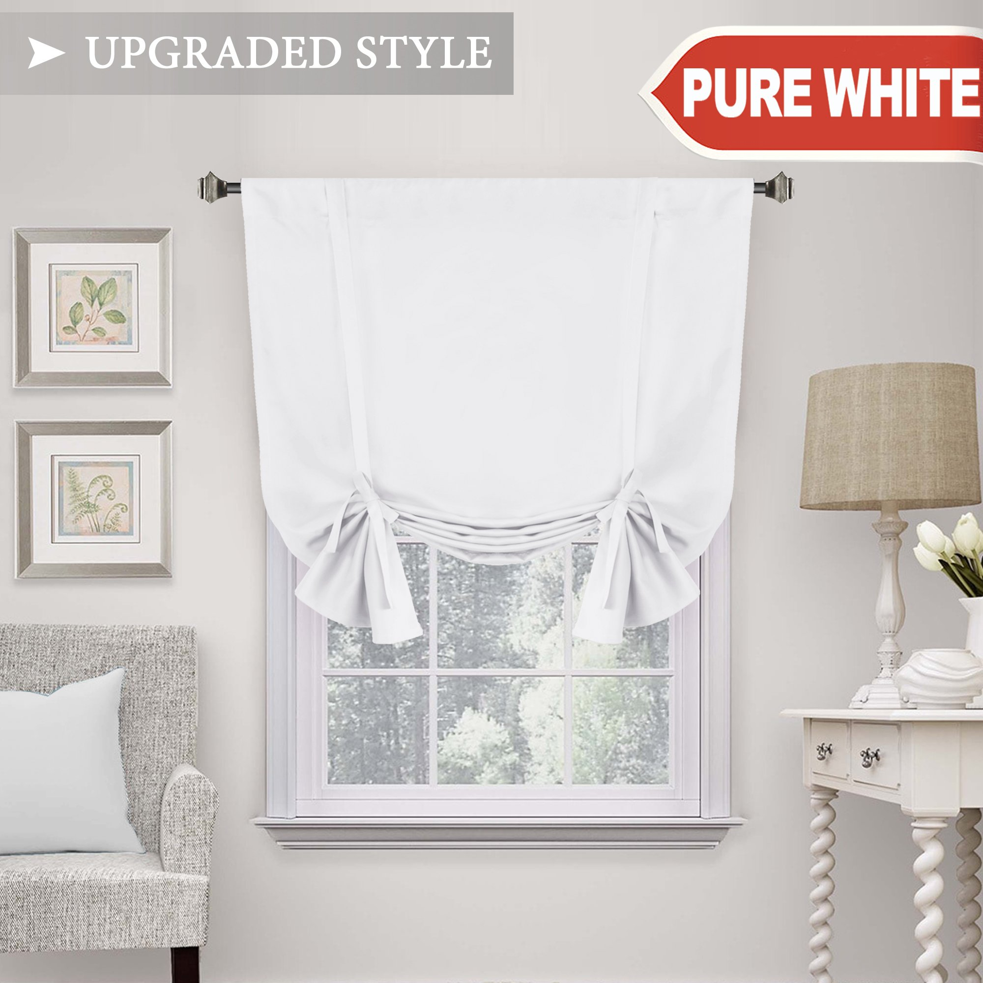 H.VERSAILTEX Pure White Curtain Thermal Insulated Tie Up Window Shade Light Blocking Curtains for Bathroom, Rod Pocket Panel- 42'' Wide by 63'' Long