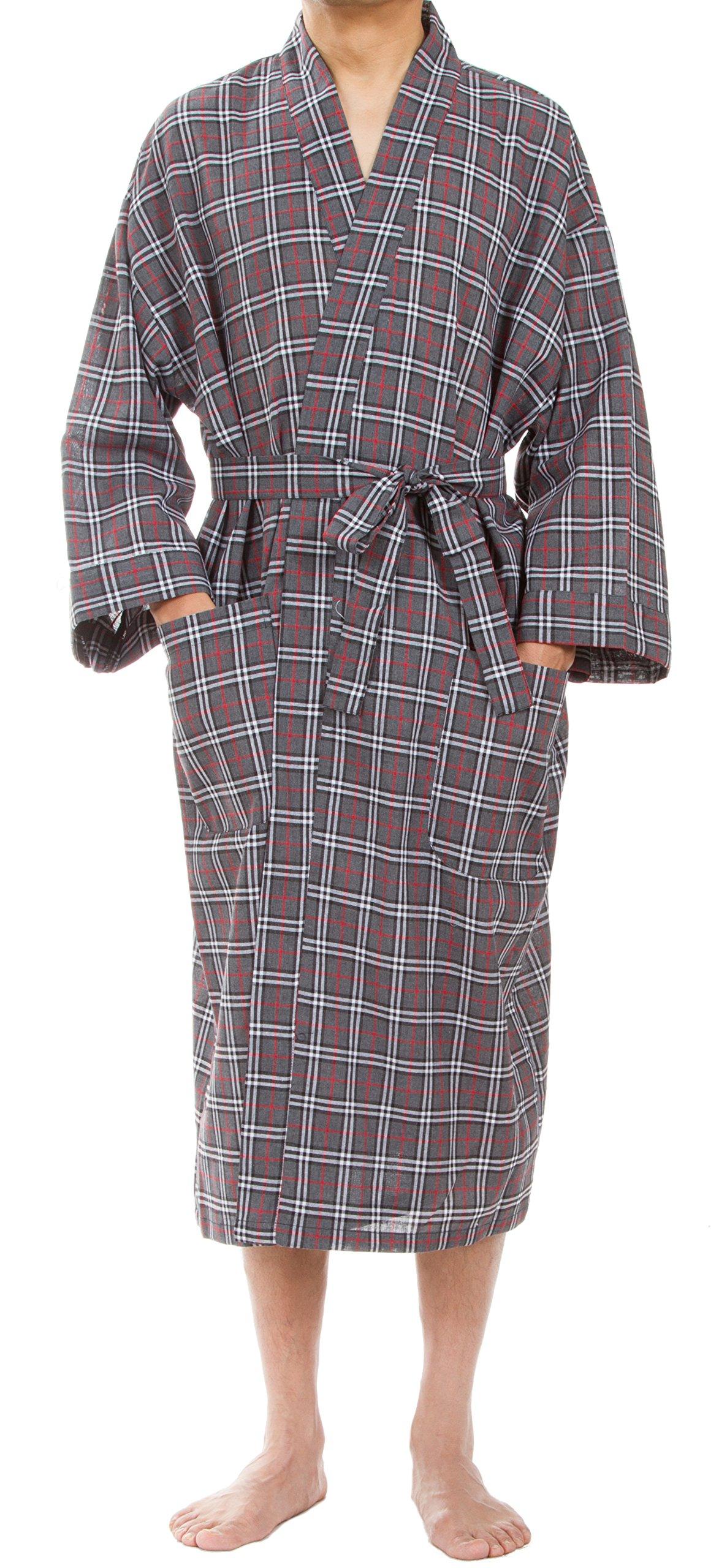 Leisureland Men's Plaid Robe, Woven Bathrobe for Sleep and Lounge, Gray Plaid