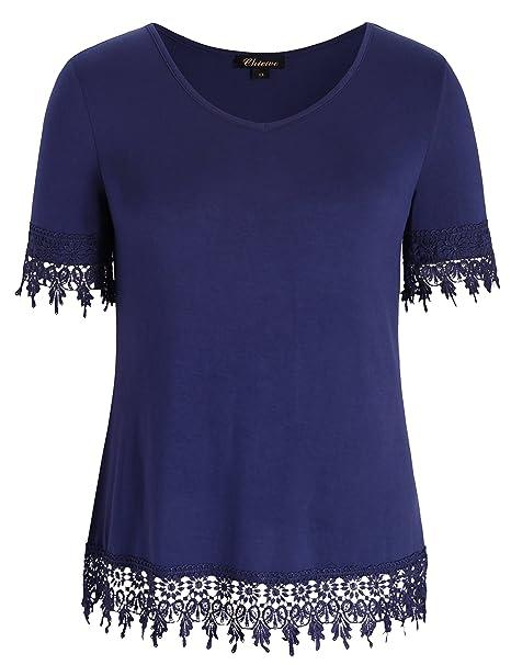 Chicwe Blusas Tops Tallas Grandes Mujeres Camisa Elástica de Modal Puño Dobladillo de Encaje Azul Marino