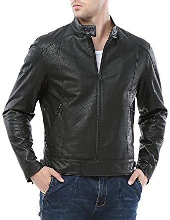 Airborne Leathers Men's Motorcycle Goat Skin Leather Jacket at ...