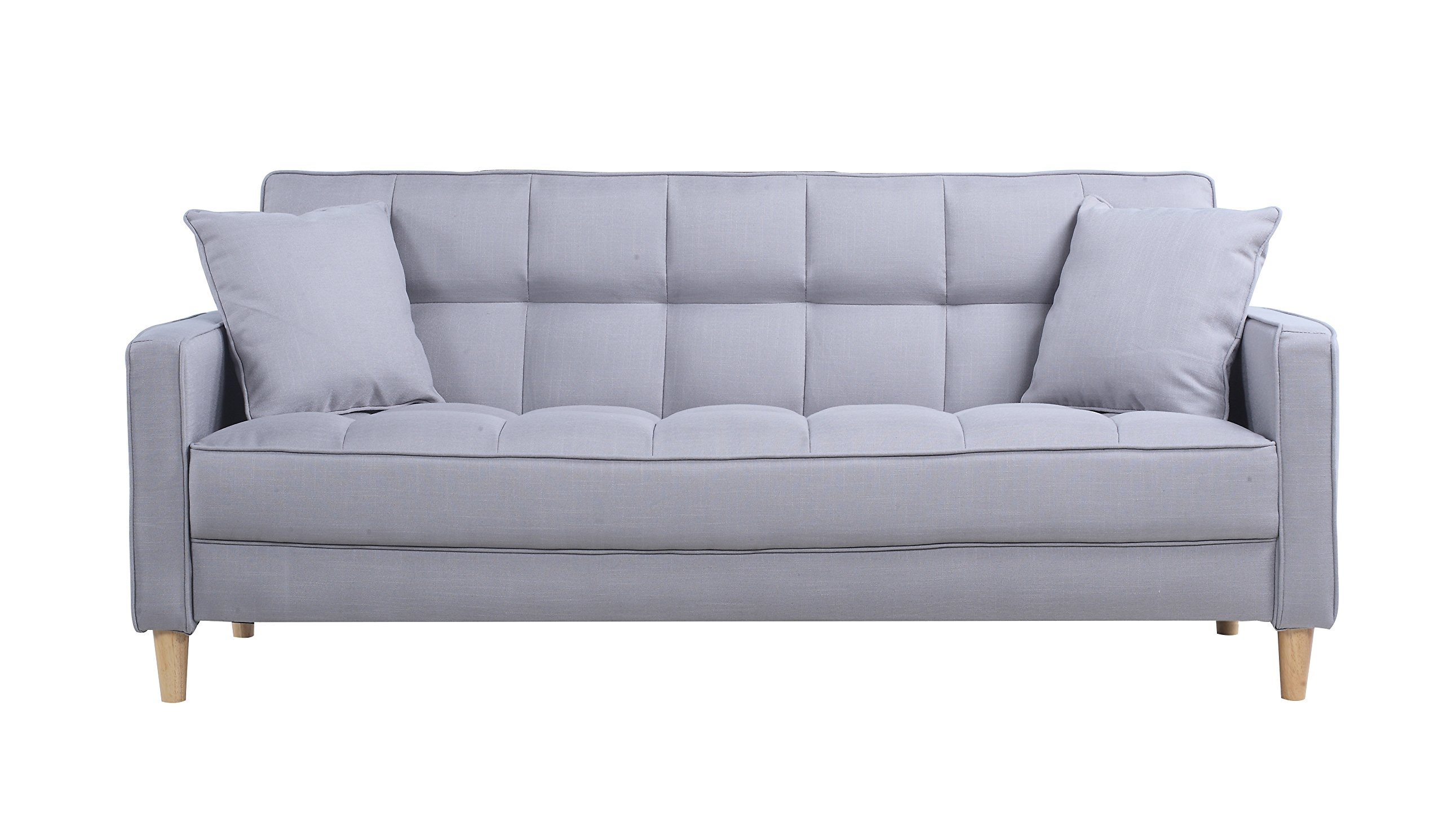 Divano Roma Furniture Modern Sofas, Light Grey - Small space mid-century style with 2 decorative pillows - Perfect for a small living room Tufted fabric upholstery on both, seat and back rest to give it a plush look and feel Available in a large variation of colors to best fit your decor and perfect size for a studio apartment or bedroom lounging - sofas-couches, living-room-furniture, living-room - 81WhO%2BscL0L -