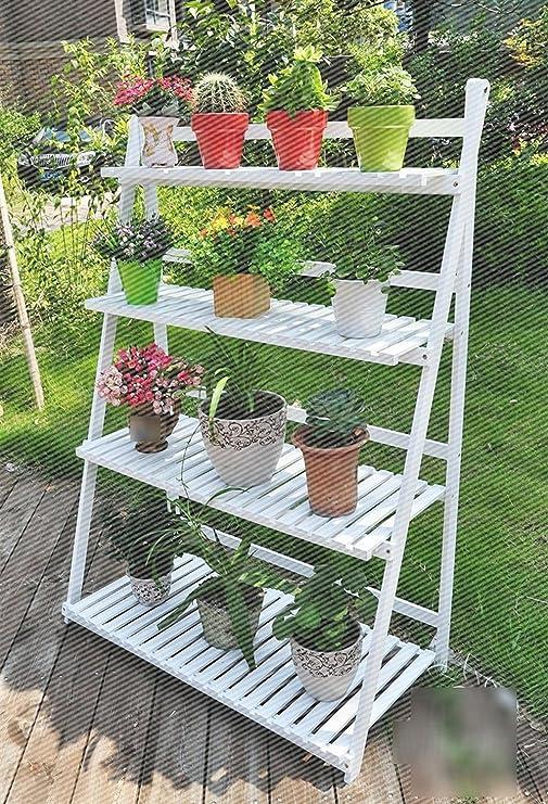JCRNJSB escalera de madera carbonizada con cuatro pliegues para jardín, terraza, flor, soporte plegable: Amazon.es: Jardín