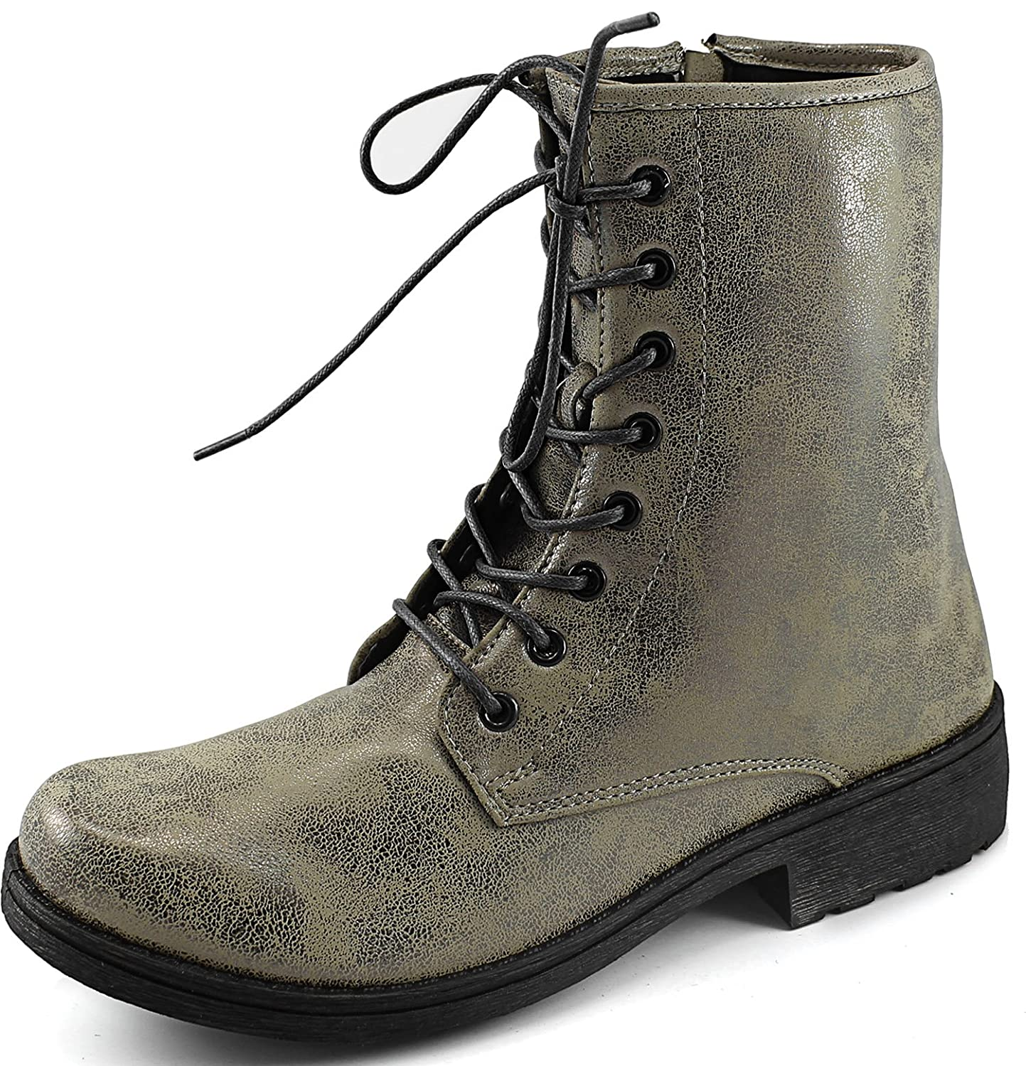 Qupid Womens Womens Ankle Booties Military Combat Lace Up Boot Multi Floral