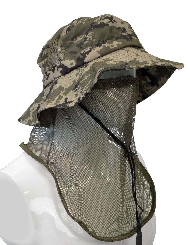 df5fcaa300938 Amazon.com   Tirrinia Outdoor Sun Protection Fishing Cap with Neck Flap for  Baseball Backpacking Cycling Hiking Garden Hunting Camping ( Digital Green  Mesh) ...