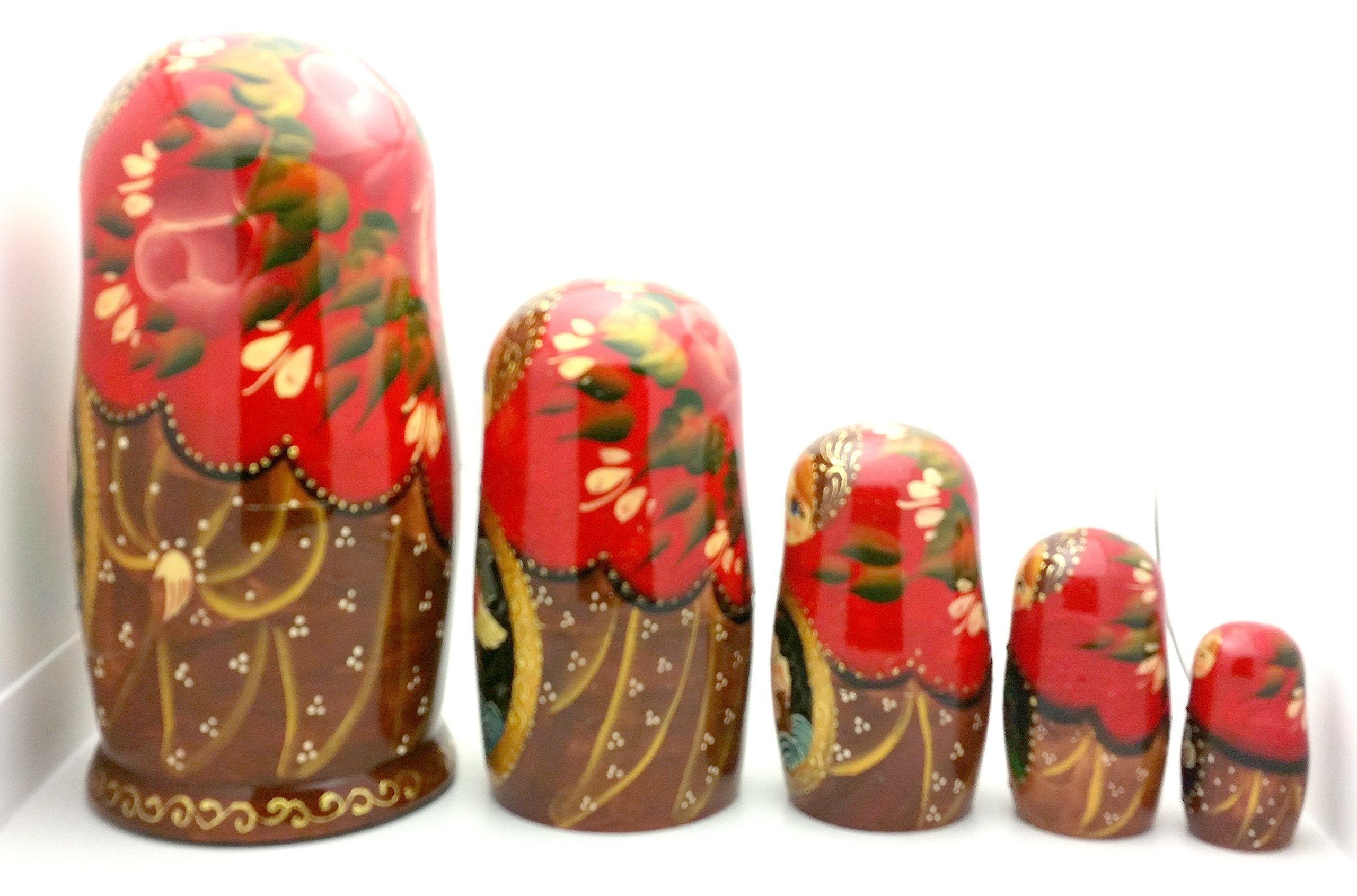 Tsar Saltan fairy tale by Pushkin Russian Nesting doll Hand Carved Hand Painted 5 piece Set 7'' tall by BuyRussianGifts (Image #4)