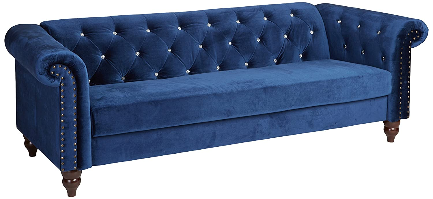 Amazon com ashley furniture signature design malchin casual upholstered sofa with faux crystal button tufting rta sofa in a box navy kitchen
