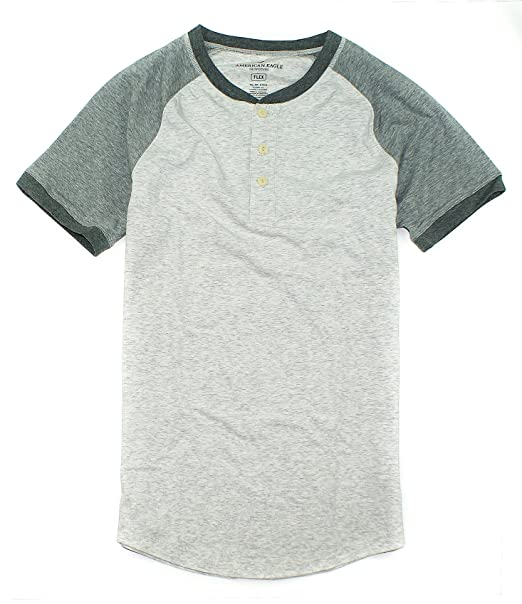 29e9a81b American Eagle Men's Flex Henley Short Sleeve T-Shirt M-5 (X-Small, 020  2-Tone Grey) at Amazon Men's Clothing store: