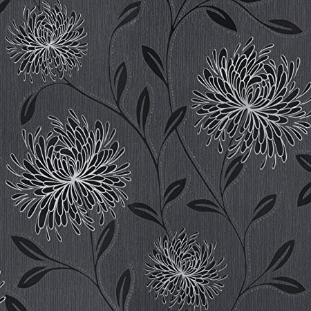 Flowers Wallpaper Floral Leaves Paisley Textured Metallic Glitter