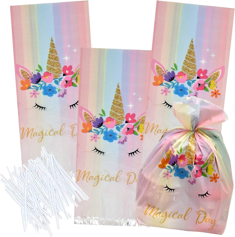 TOYANDONA Unicorn Sacs en Papier Licorne Party Favor Traiter Sacs danniversaire Goodies Cadeaux Faveurs Fournitures D/écorations pour Enfants Bleu 24PCS