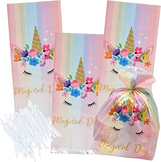 100 Unicorn Cellophane Bags Party Treat Favor Bags Birthday Supplies Goodie Candy Plastic Pack for Girls Assorted Rainbow, Pastel, Pink and Fairy ...