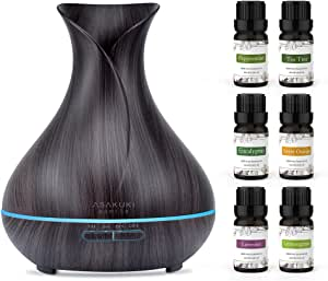ASAKUKI 400ml Essential Oil Diffuser with 6 Bottles 10ml Pure Natural Essential Oils, 7 LED Color Changing Light and Auto Shut-Off - for Home, Office, Spa, Study, Gym