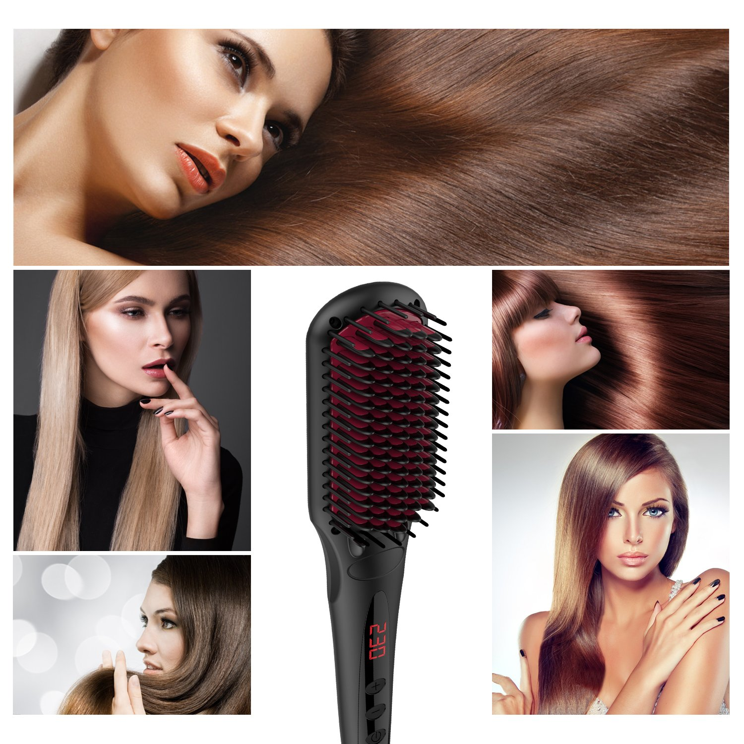 Enhanced Hair Straightener Brush by MiroPure, 2-in-1 Ionic Straightening Brush with Anti-Scald Feature, Auto Temperature Lock and Auto-off Function (Black) by MiroPure (Image #6)