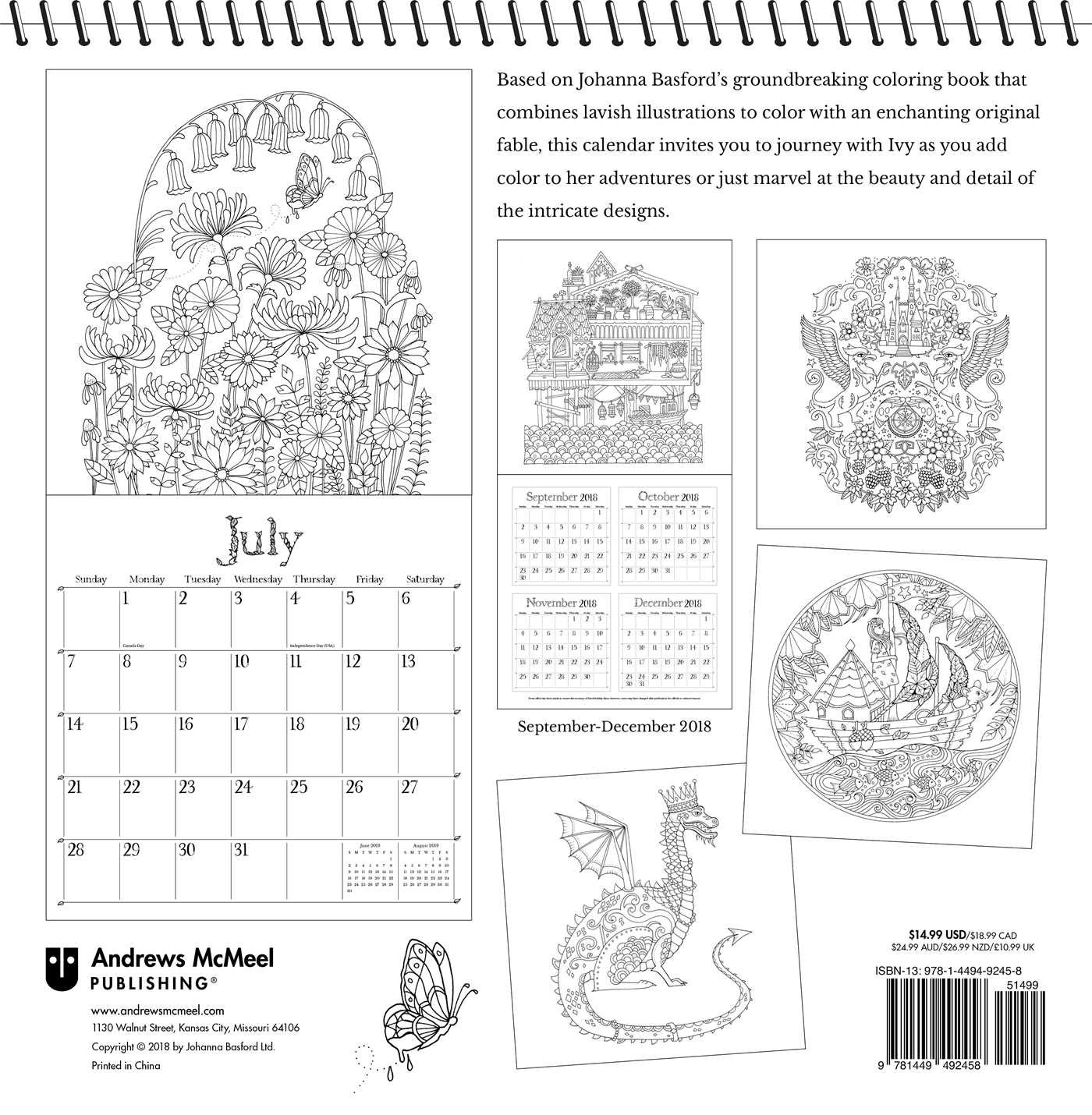 ivy and the inky butterfly 2019 coloring calendar a magical 2019 calendar to color calendar 17