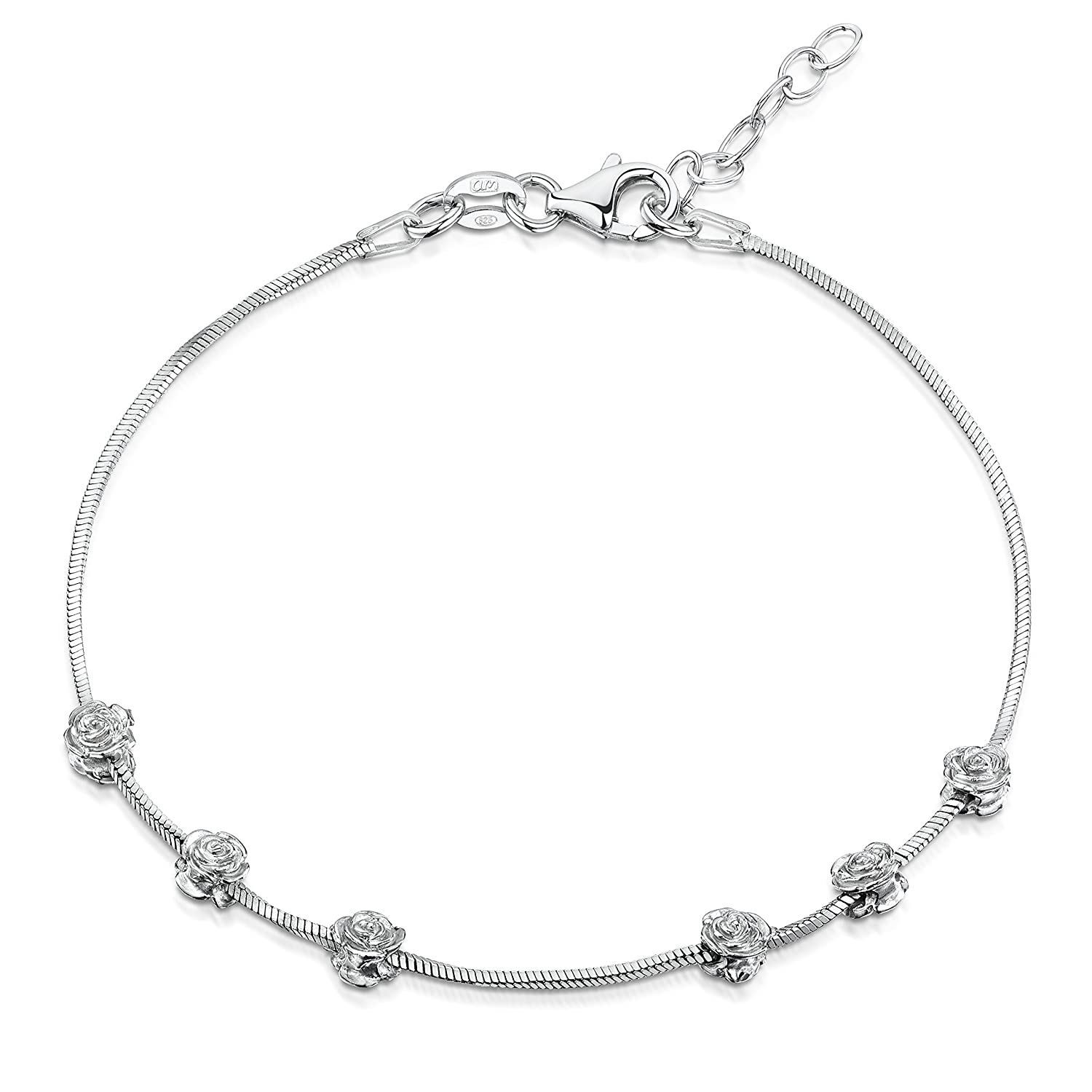 Amberta 925 Sterling Silver Adjustable Ankle Bracelet - Chain 9 to 10 inch - Flexible Fit TIE-S925-ANK-017