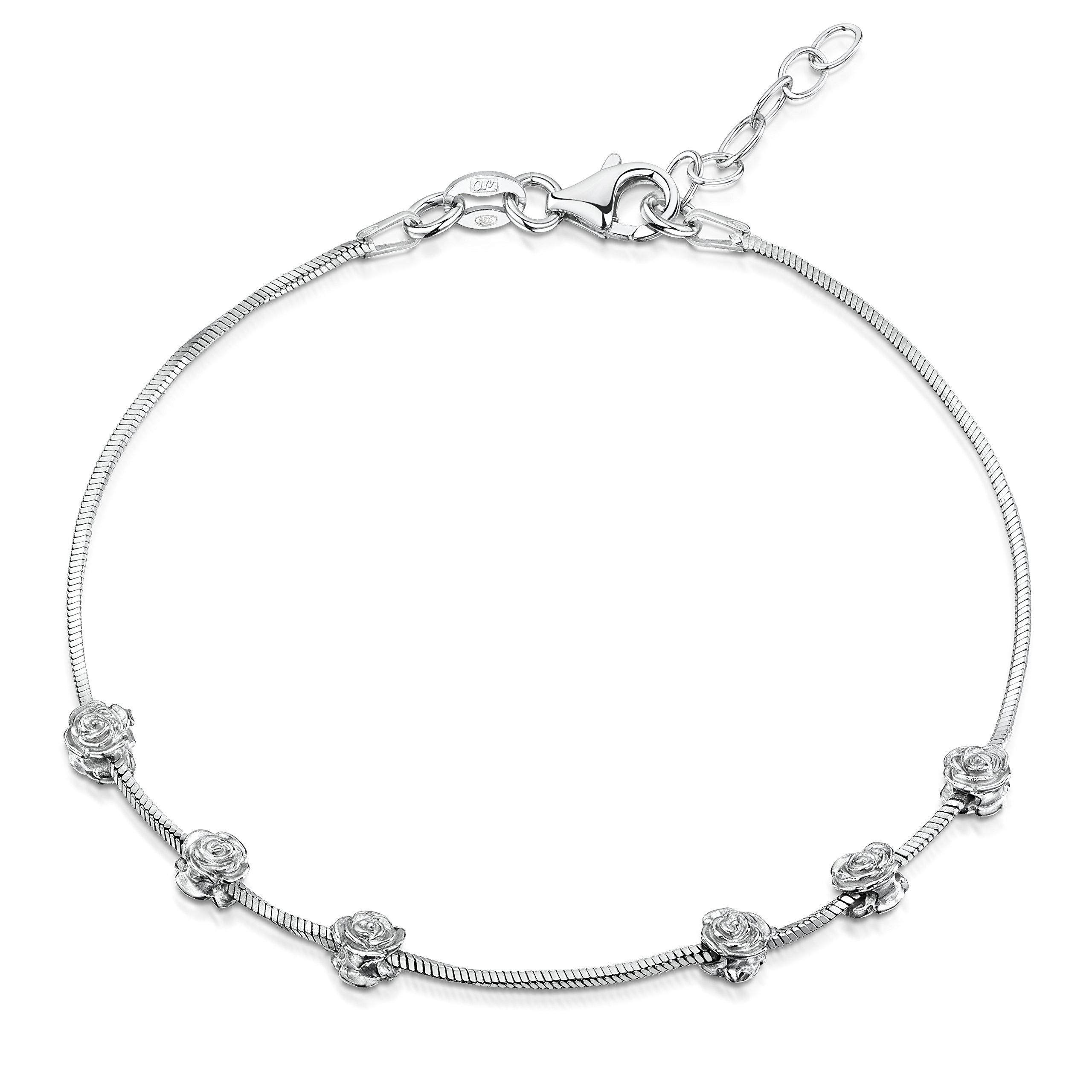 Amberta 925 Sterling Silver Adjustable Ankle Bracelet - 1 mm Square Snake Chain Anklet with Rose Beads - 9'' to 10'' inch - Flexible Fit