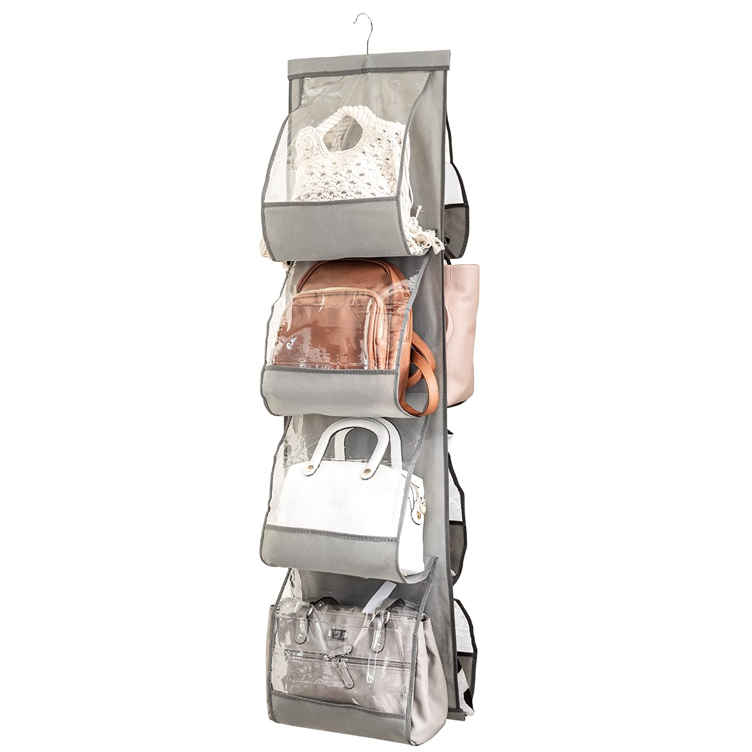ZOBER Hanging Purse Organizer, Breathable Nonwoven Handbag Organizer, 8 Easy Access Clear Vinyl Pockets, White, 48 L x 12 W FBA_ZO-NW304