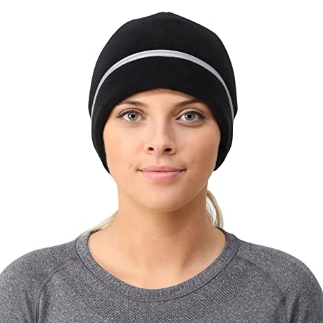 TrailHeads Women s Ponytail Hat - Reflective Cold Weather Running Beanie -  black 0f2df84d056
