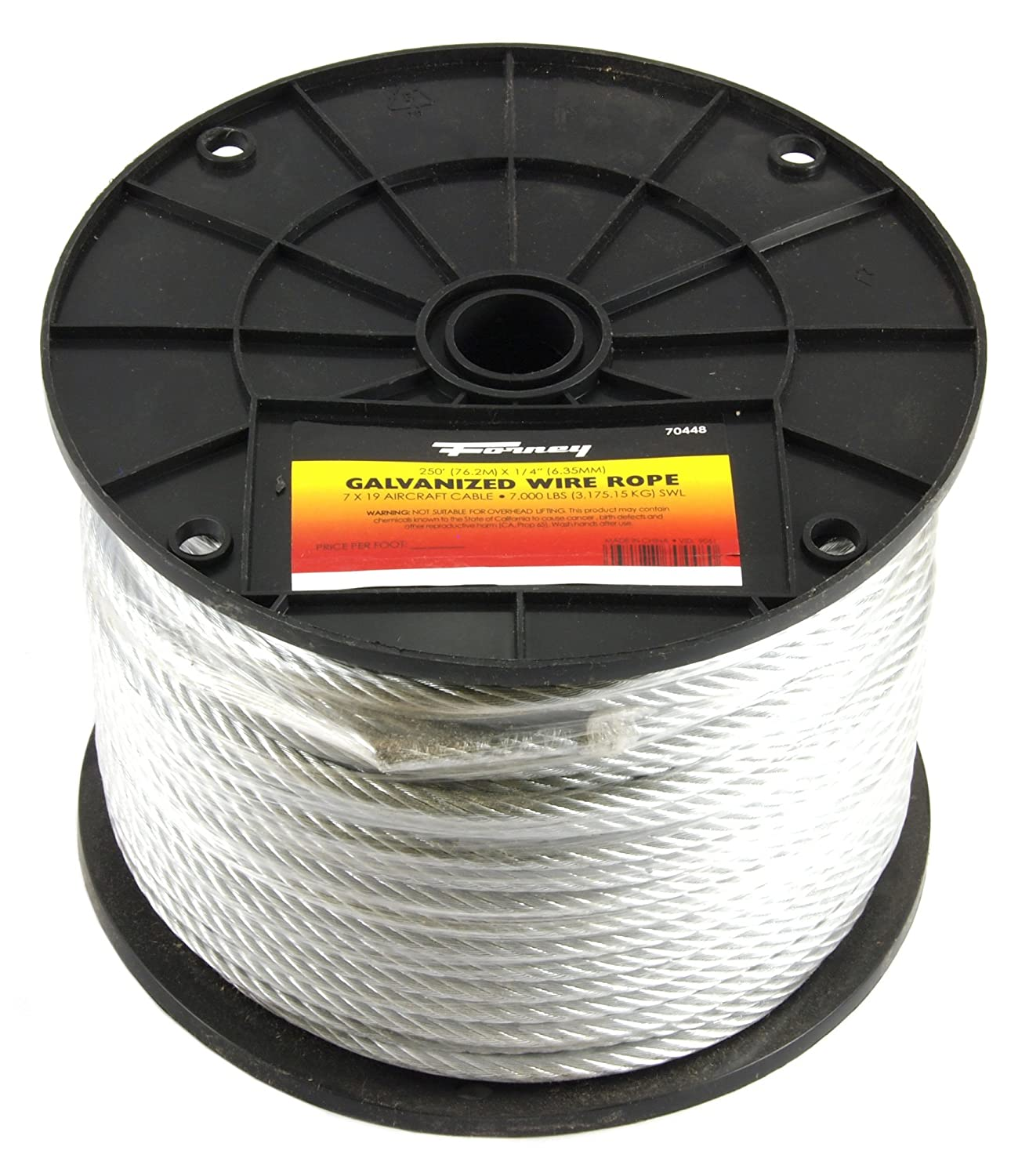 Forney 70448 Wire Rope, Galvanized Aircraft Cable, 250-Feet-by-1/4 ...