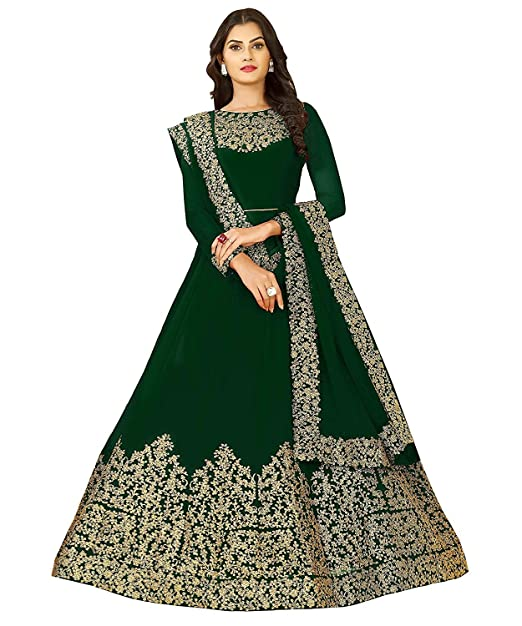8a8e2cb0be Shyam Export Women's Georgette Party Wear Anarkali Salwar Suit Material  (Green_Free Size): Amazon.in: Clothing & Accessories