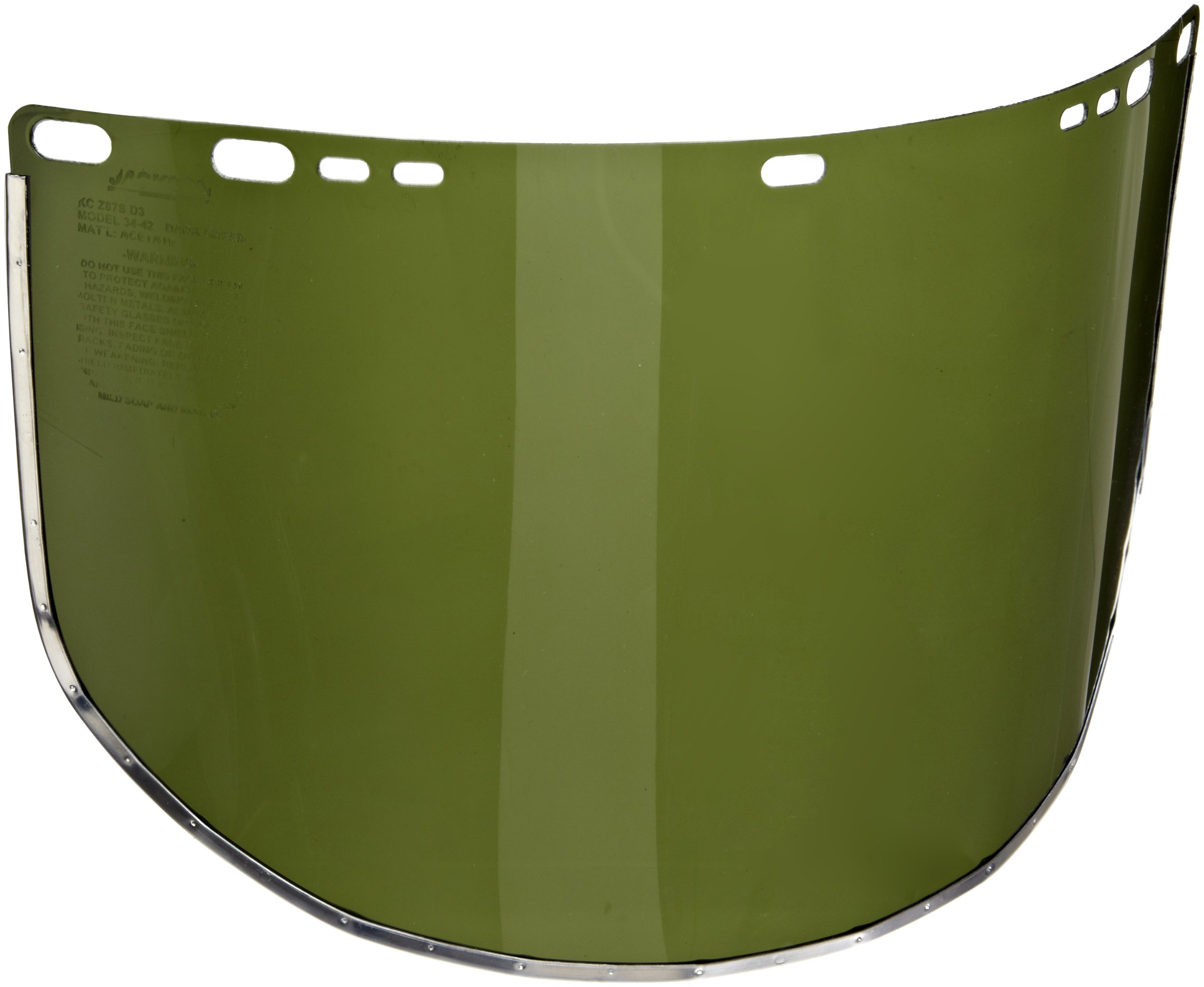 Jackson Safety F30 Acetate Aluminum Bound Face Shield, 19'' Length x 9'' Width x 0.040'' Thick, Dark Green (Case of 50)