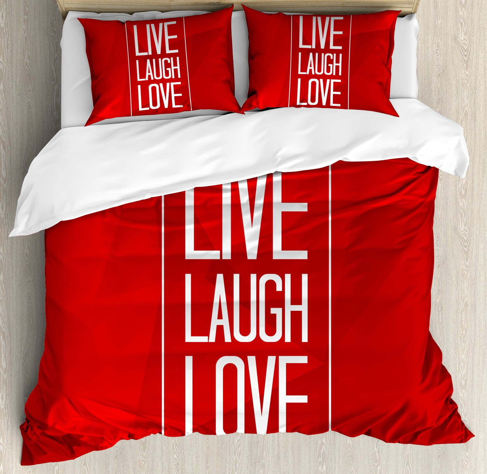 Live Laugh Love Duvet Cover Set King Size by Ambesonne, Abstract Triangular Polygonal Background with a Quote in Rectangular Frame, Decorative 3 Piece Bedding Set with 2 Pillow Shams, Red White
