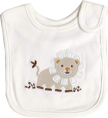 Babero de algodón para bebé con cierre de cordones o de velcro y tela aida para poder bordar el nombre Leoncino Avorio