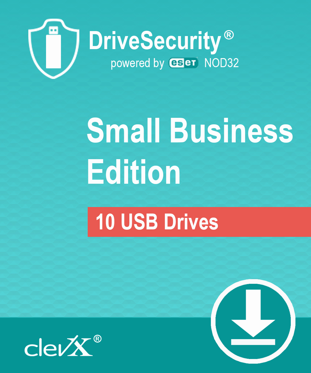 ClevX DriveSecurity powered by ESET - Small Business - Automatic Malware (Antivirus) Protection for portable drives - 1 year, for up to 10 portable USB Flash drives or external HDD/SSD devices [Online Code] by ClevX