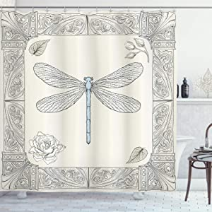 """Ambesonne Dragonfly Shower Curtain, Hand Drawn Royal Style Rose Petals Leaves and Ornate Design, Cloth Fabric Bathroom Decor Set with Hooks, 75"""" Long, Black Light Blue"""