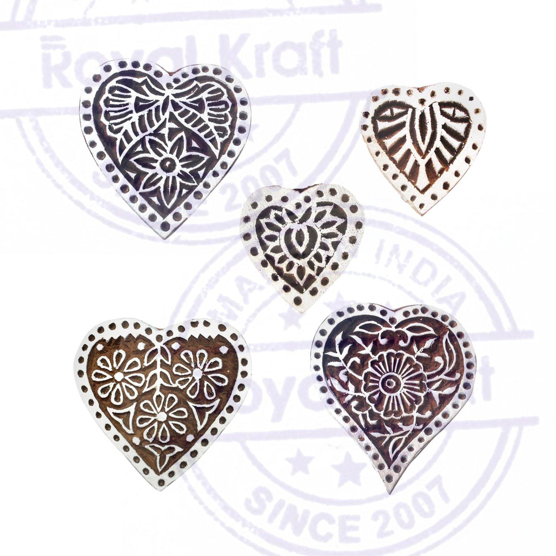 Royal Kraft Fantasia Forma Cuore e Floreale Legno Blocco Timbri Set di 5