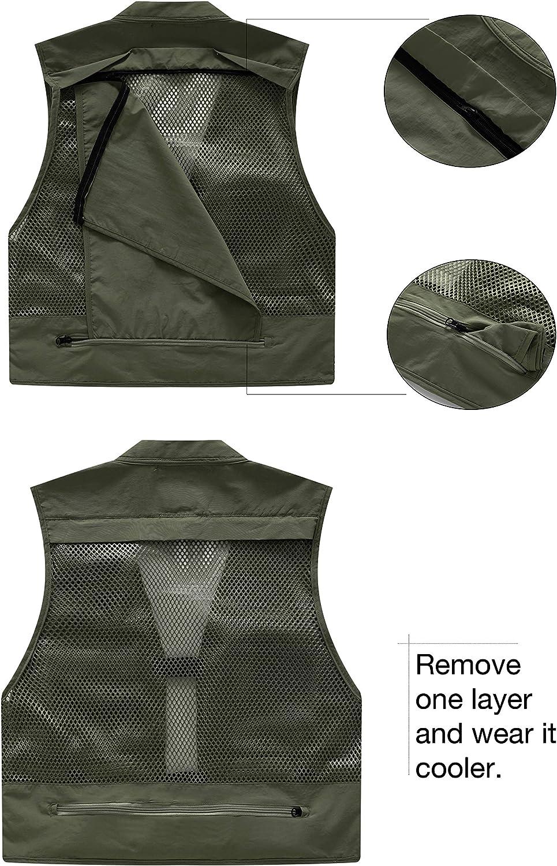 Men Hiking Ski Travel Camping Multi-Pocket Vest Fly Fishing Quick-Dry Jacket