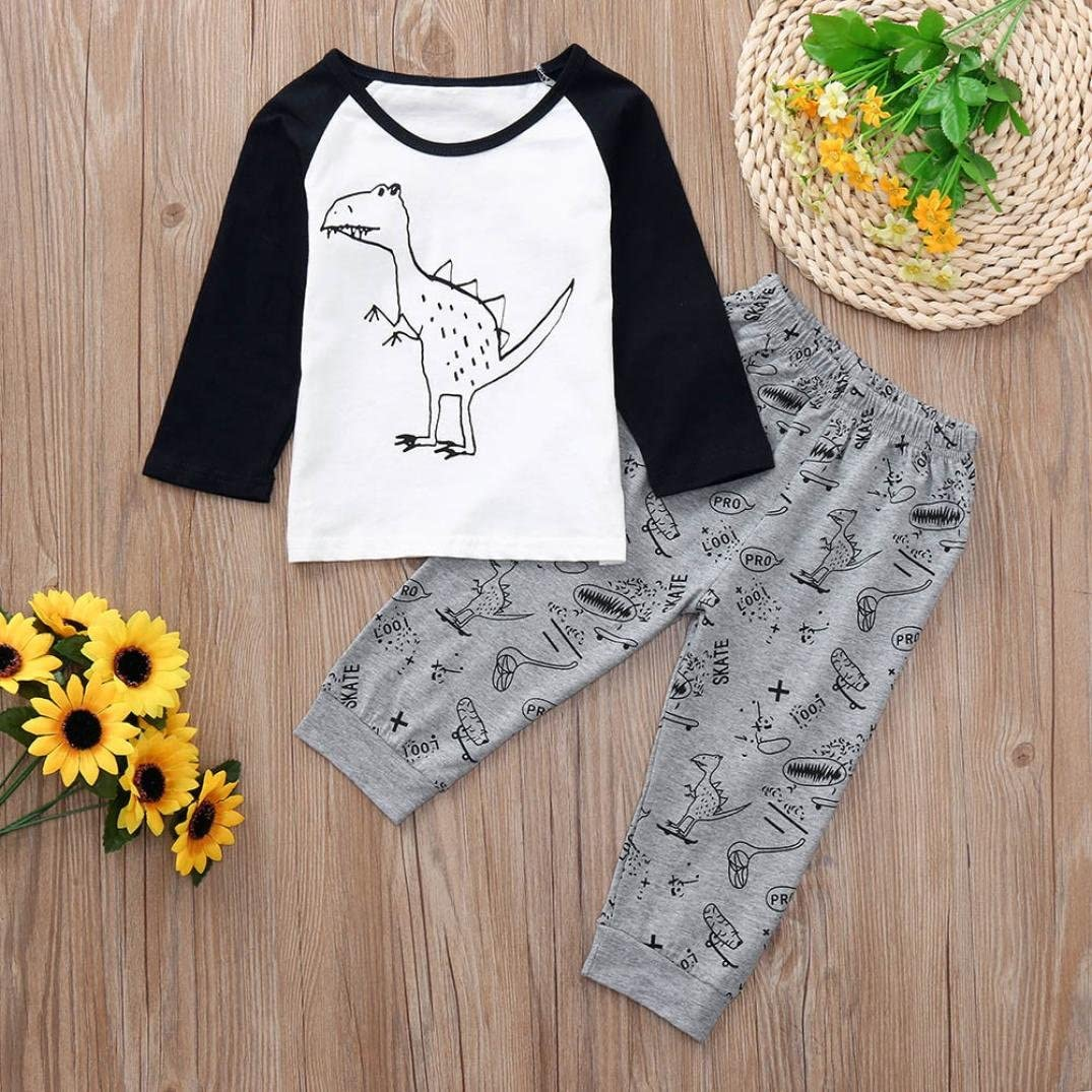 KONFA Toddler Baby Boys Girls Long Sleeve T-Shirt+Pants,Suitable for 0-24 Months,Children 3Pcs Dinosaur Outfits Clothes Sets