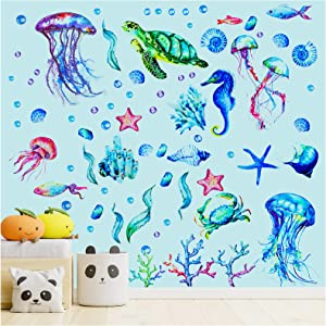 Ocean Themed Wall Decals - 71 Pcs Removable Waterproof Self-Adhesive Under the Sea Wall Decals, Ocean World Jellyfish Turtle Tropical Fish Decals for Kids Bedroom Bathroom Playroom Wall Decor (3 Sheets)