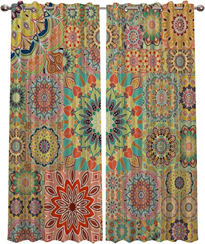 Blackout Curtains Window Treatment Curtain Unique Chic Bohemian Boho Floral Paisley Design Room Darkening Thermal Insulated Drape