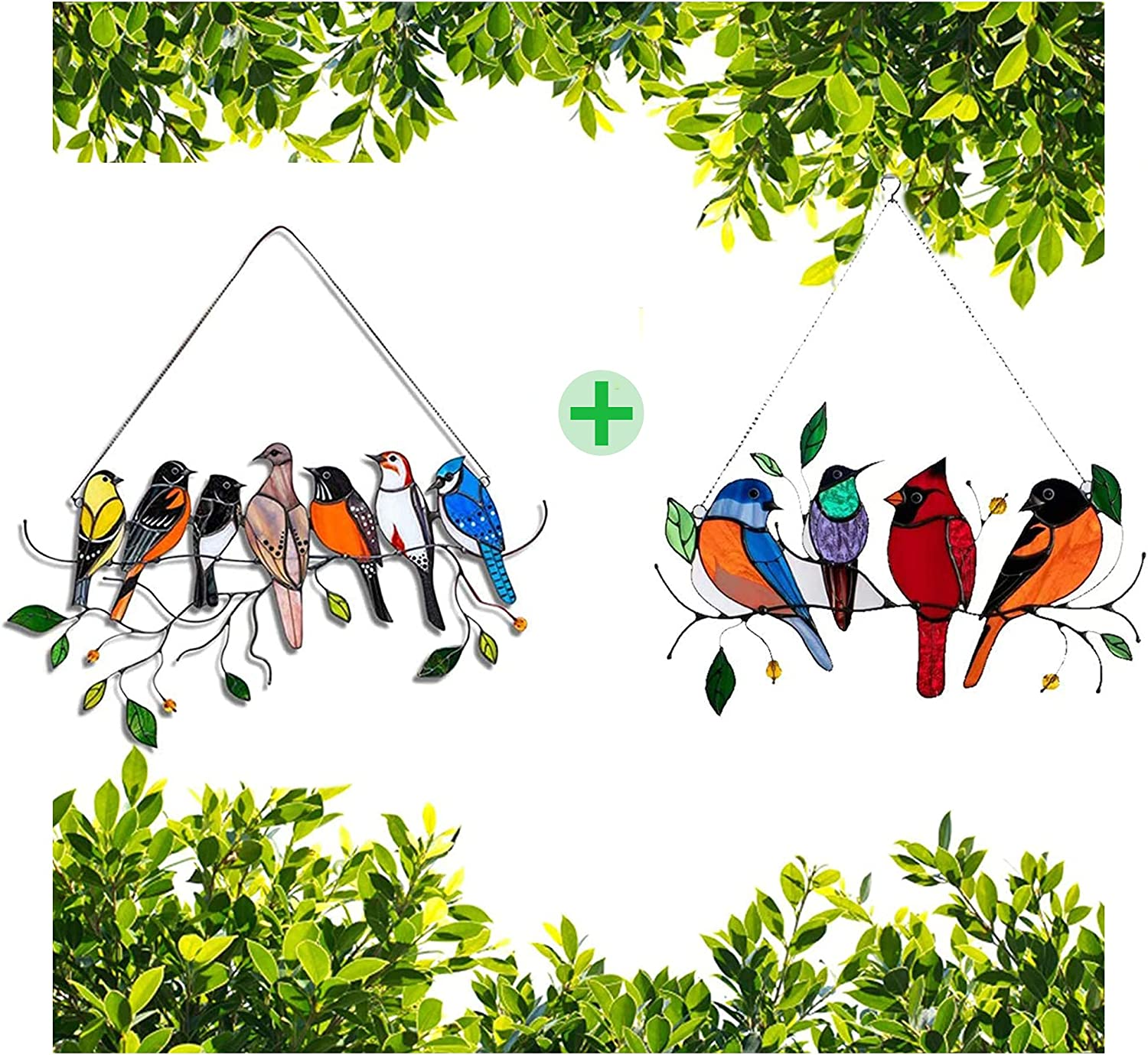 Multicolor Birds on a Wire High Stained Plexiglass Suncatcher Window Panel,Bird Series Ornaments Pendant Home Decoration,Hanging for Windows Doors Home Decoration and Gifts (4 Birds+7 Birds)