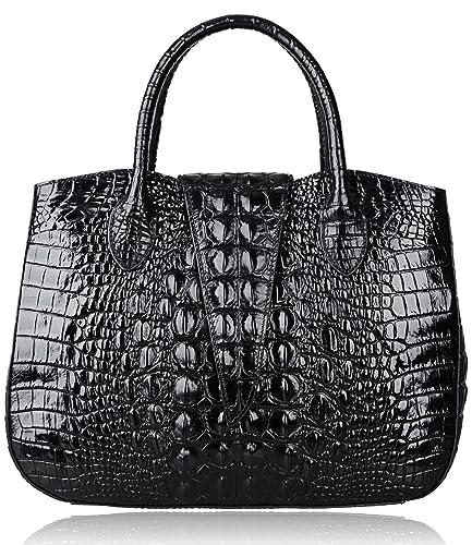 Pijushi 22201 Classic Ladies Crocodile Embossed Leather Satchel ...