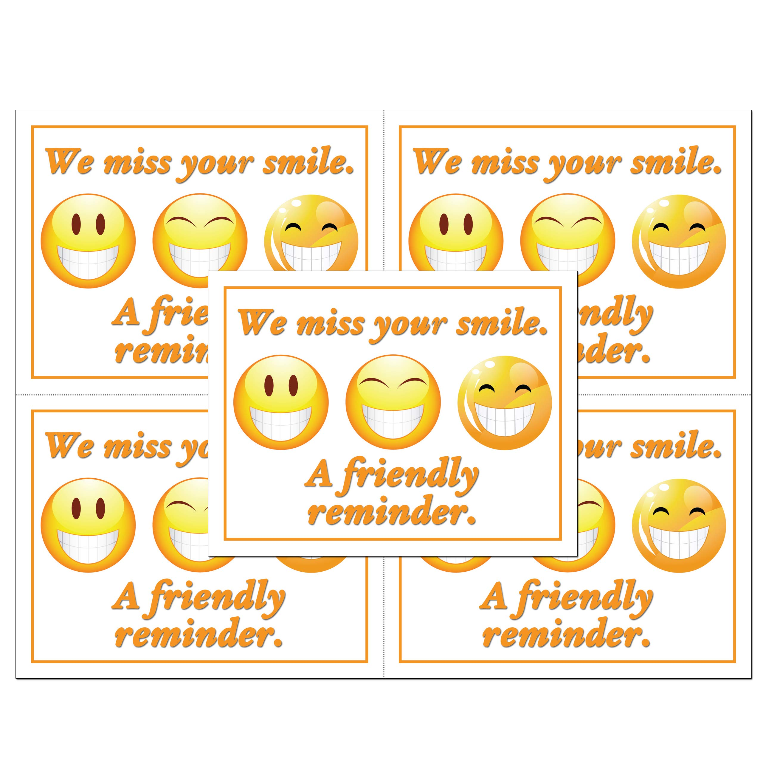 Laser Reminder Postcards, Dental Appointment Reminder Postcards. 4 Cards Perforated for Tear-Off at 4.25'' x 5.5'' on an 8.5'' x 11'' Sheet of 8 Pt Card Stock. DEN129-LZS by Custom Recall
