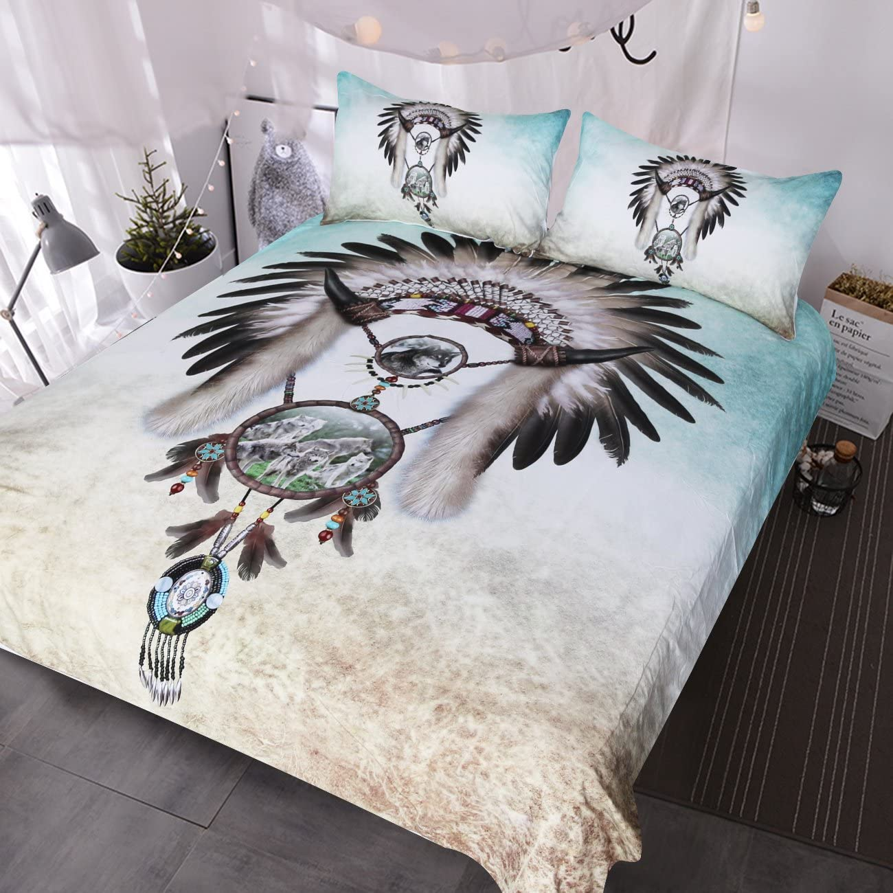 BlessLiving Wolf Dreamcatcher Bedding Dream Catcher Feather Beads Boy Western Bedding 3 Piece Gray Teal Blue Duvet Cover (Queen)