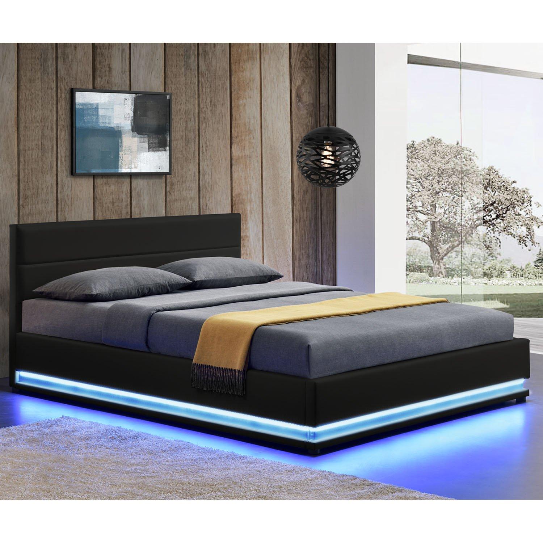 ArtLife Polsterbett Toulouse 180 X 200 Cm Mit Rundum LED Und Bettkasten    Schwarz: Amazon.de: Küche U0026 Haushalt