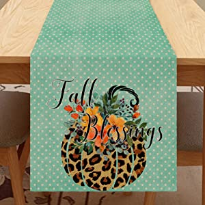 Seliem Fall Blessings Leopard Pumpkin Table Runner, Autumn Blue Table Scarf Home Kitchen Watercolor Flower Dots Decor Sign, Seasonal Farmhouse Burlap Dining Decorations Party Supplies 13 X 72 Inch