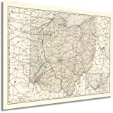 HISTORIX Vintage 1894 Ohio Map Poster - 18x24 Inch Vintage Map of Ohio State Wall Decor - Ohio State Map - Old Ohio State Pos