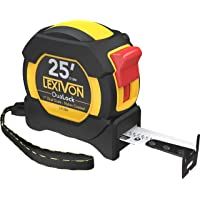LEXIVON 25Ft/7.5m DuaLock Tape Measure | 1-Inch Wide Blade with Nylon Coating, Matt Finish White & Yellow Dual Sided Rule Print | Ft/Inch/Fractions/Metric (LX-206)